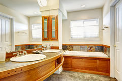Bathroom with wood and tile trim. Stock Image