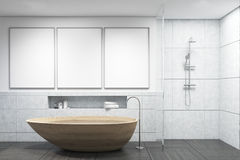 Bathroom with wooden tub, gallery Stock Photography