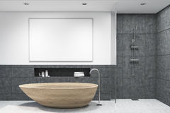 Bathroom with wooden tub, horizontal poster Royalty Free Stock Image