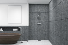 Bathroom with wooden tub, vertical poster, dark Stock Photography