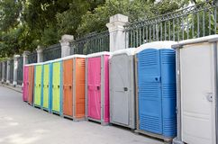Bathrooms of colors decorated with the rainbow flag of the world pride 2018, Madrid, Spain. Gay, lesbian, lgbt, homosexuality, symbol, parade, love, celebrate royalty free stock photography