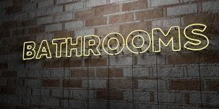 BATHROOMS - Glowing Neon Sign on stonework wall - 3D rendered royalty free stock illustration Royalty Free Stock Images