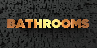 Bathrooms - Gold text on black background - 3D rendered royalty free stock picture Stock Photo