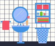 Bathroon Interior in Flat Style. Washbasin Royalty Free Stock Images