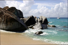 The Baths beach Virgin Gorda. Scenic view of the Baths beach on Virgin Gorda island, British Virgin Islands stock photography