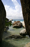 The Baths beach Virgin Gorda. Scenic view of boulders on the Baths beach, Virgin Gorda island, British Virgin Islands royalty free stock image