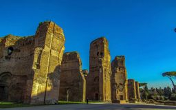 The Baths of Caracalla with blue clear sky in Rome, Italy royalty free stock image