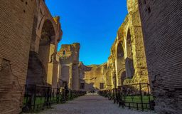 The Baths of Caracalla in Rome, Italy: the city`s second largest Roman public baths, or thermae royalty free stock photo