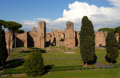 Baths of Caracalla in Rome. Ruins of the ancient roman thermal complex viewed from San Saba Stock Images
