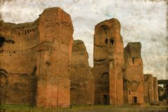 Baths of Caracalla - Vintage. Vintage image of the Baths of Caracalla in Rome, Italy Stock Images