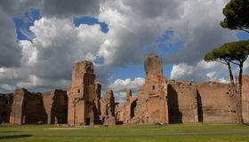 Baths of Caracalla. Wonder of ancient rome, huge baths complex Royalty Free Stock Image