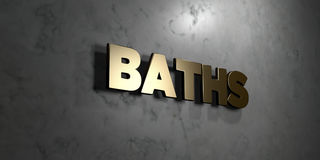 Baths - Gold sign mounted on glossy marble wall  - 3D rendered royalty free stock illustration Stock Photo