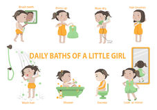 Daily baths of a little girl Stock Photo