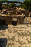 Baths of Neptune, Roman mosaic floor at Ostia Antica Italy Stock Photo