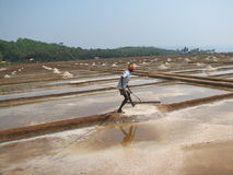 Salt salt extraction food industry India. Baths with salt, Man works salt extraction food industry India, Karnataka, Gokarna, March, 2017 royalty free stock photo