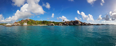 The Baths Virgin Gorda, British Virgin Island (BVI), Caribbean. Panoramic view of The Baths Virgin Gorda, British Virgin Island (BVI), Caribbean royalty free stock images