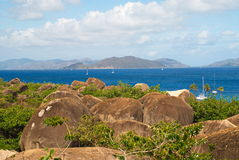 The Baths, Virgin Gorda, BVI. Overlooking the rocks onto the blue Caribbean sea and islands in the background at The Baths, in Virgin Gorda, British Virgin Royalty Free Stock Photos