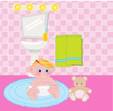 Bathtime. Baby wearing a diaper in bathroom vector illustration