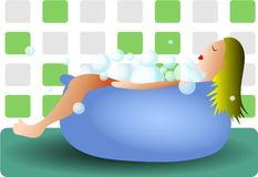 Bathtime. Woman relaxing in the bath vector illustration