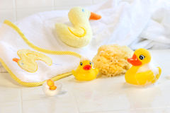 Bathtime for baby. With toys and towel Stock Photo