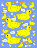 Bathtime duck and bubbly soap blue. Playful yellow duck sits on next to soap and bubbles on a blue background. Background is filled with baby ducks and polka vector illustration