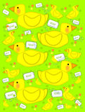 Bathtime duck and bubbly soap green. Playful yellow duck sits on next to soap and bubbles on a green background. Background is filled with baby ducks and polka royalty free illustration