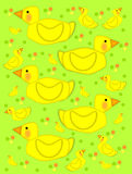 Bathtime duck on green. Playful yellow duck swims across green background filled with baby ducks and polka dots of yellow, green and orange vector illustration