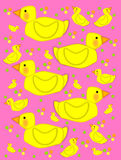 Bathtime duck on pink. Playful yellow duck swims across pink background filled with baby ducks and polka dots of yellow, green and orange vector illustration