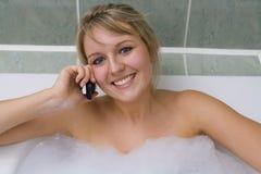 Bathtime Phonecall Imagem de Stock Royalty Free