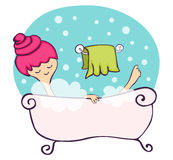 In the bathtub. Young woman relaxing in a pink bathtub vector illustration