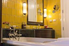 Bathtub on bathroom interior design. stock photo