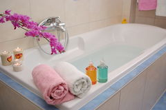 Bathtub with Beauty Set royalty free stock image