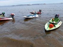 Bathtub boats at the beach after royalty free stock photography