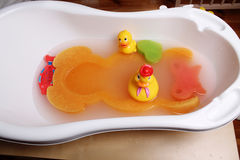 Bathtub with ducks for babies Royalty Free Stock Photography