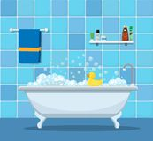 Bathtub with foam bubbles. Inside and bath yellow rubber duck royalty free illustration