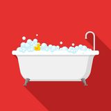 Bathtub with foam bubbles inside and bath yellow rubber duck on red background with shadow. Bath time icon in flat style Stock Photo