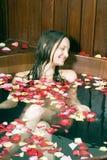 bathtub girl smiling vertical Στοκ Φωτογραφία