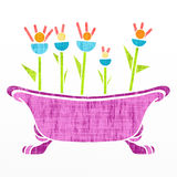 Bathtub with pink flowers Royalty Free Stock Photography