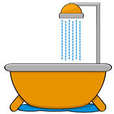 Bathtub with shower. Cartoon illustration showing a bathtub with a shower head Stock Image