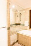 Bathtub and shower box. Decoration in bathroom interior - Vintage Light Filter Royalty Free Stock Photos