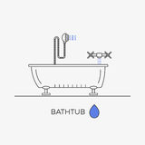 Bathtub, shower and faucet thin line icons in one composition. Bathroom elements. Vector image royalty free illustration