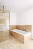Bathtub and shower, interior. Interior new apartment, bathtub and shower of a modern bathroom Stock Image