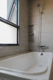 Bathtub with shower. Bathtub and shower in nice bathroom, close to the window Stock Photography