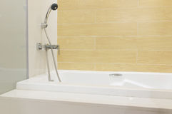 Bathtub shower. Are ready for new arrival customer Royalty Free Stock Photos