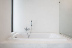 Bathtub shower. Are ready for new arrival customer Stock Photo