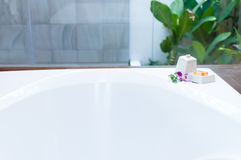 Bathtub simple decoration with orchid Royalty Free Stock Photography