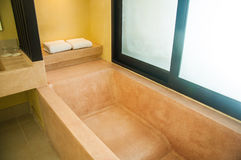 Bathtub simple modern bathroom Royalty Free Stock Photo