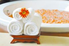 Bathtub in Spa room in Thailand Royalty Free Stock Photos