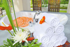 Bathtub in Spa room in Thailand Stock Photos
