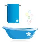 Bathtub and towel Stock Image
